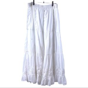 Papillon White Cotton Tiered Embroidered Skirt
